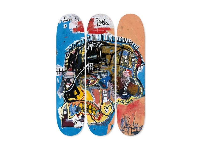 Jean Michel Basquiat: Skateboard Triptych Skull